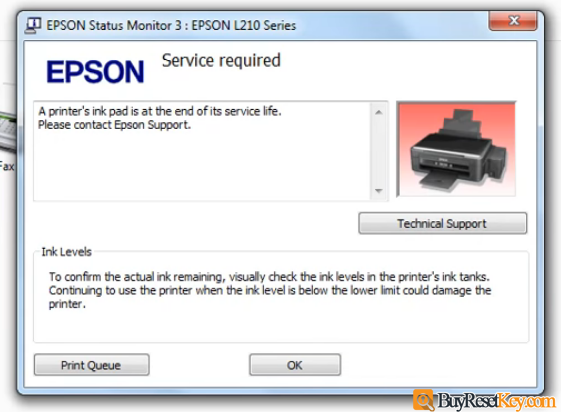 check epson printer waste ink counter overflow error on the computer screen