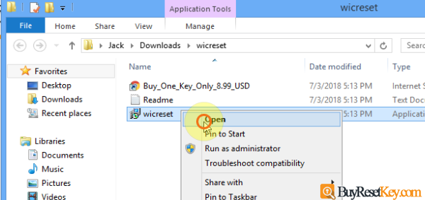 click open to run wicreset setup file