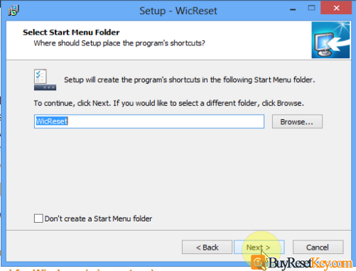 select start menu folder for wic reset tool