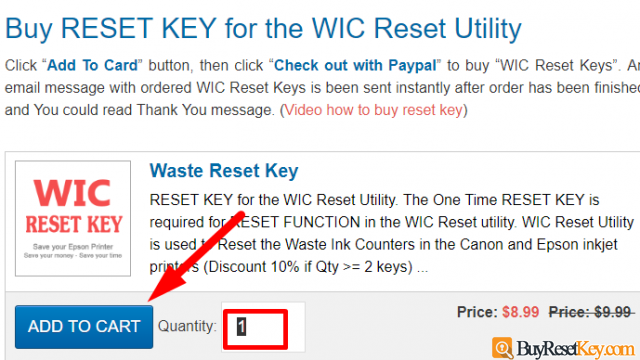 buy Epson B30 WIC reset key